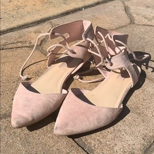 Pink lace up flats